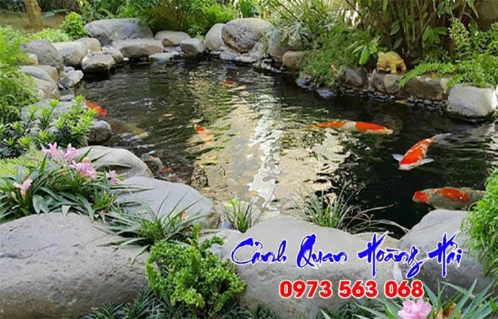 Hồ cá koi mini thiết kế đơn giản tại Long An