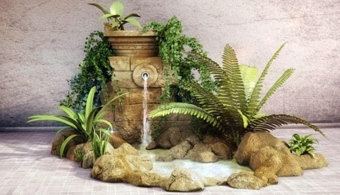 Hòn non bộ mini có thác nước chảy