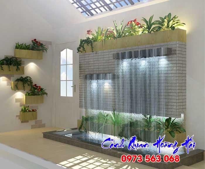 Tiểu cảnh thác nước trên tường trong nhà