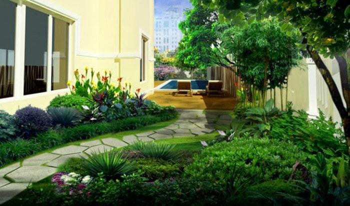 Mẫu sân vườn biệt thự hiện đại 02