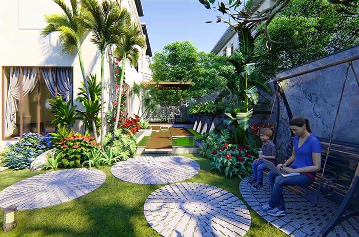 Mẫu sân vườn biệt thự hiện đại 04