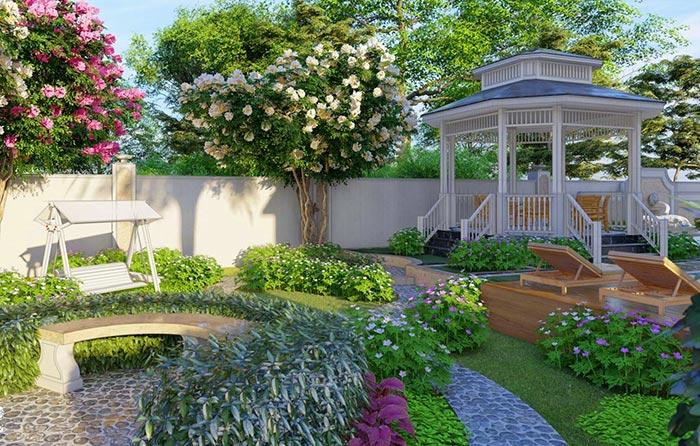 Mẫu sân vườn biệt thự hiện đại 05