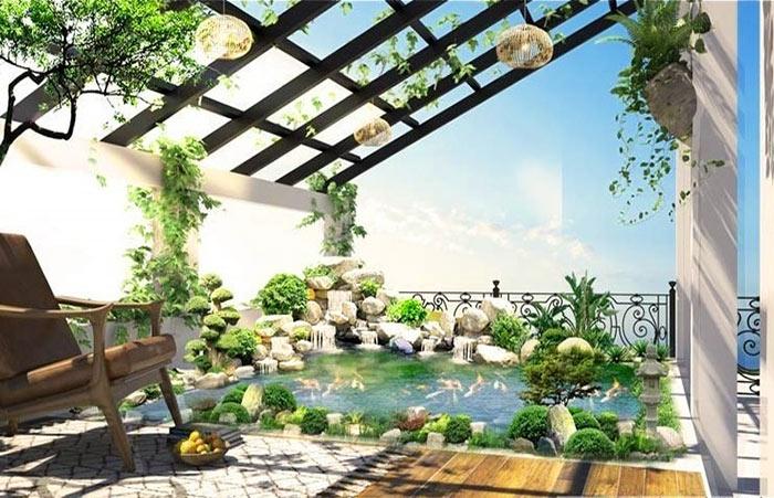 Mẫu thiết kế sân vườn sân thượng 02