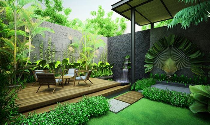 Mẫu thiết kế sân vườn sau nhà 01