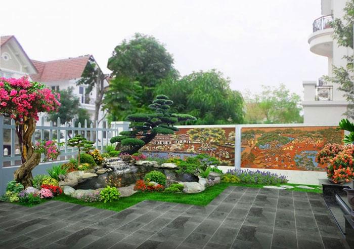Thiết kế sân vườn trước nhà 01