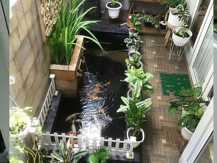 Tiểu cảnh hồ cá trong nhà 06