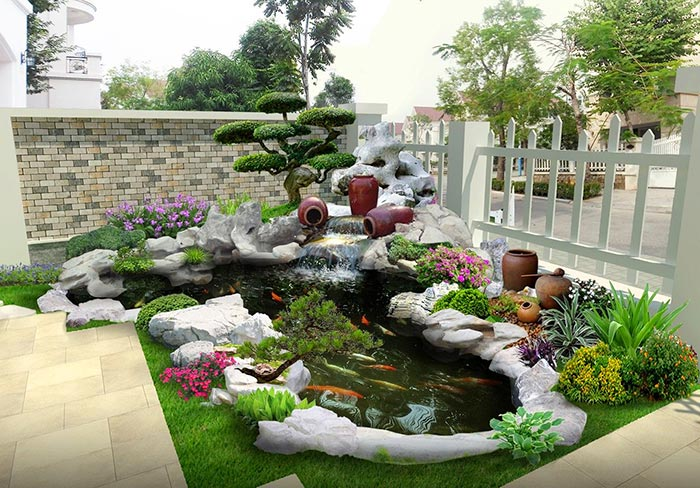 Hồ cá koi mini góc sân vườn-thiết kế thi công hồ cá koi quận 7