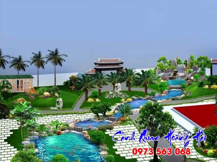 Hồ cá koi khu nghỉ dưỡng resort