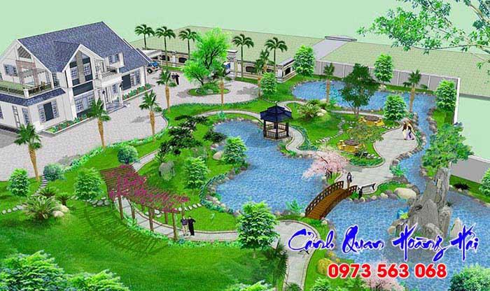 Thiết kế sân vườn biệt thự rộng
