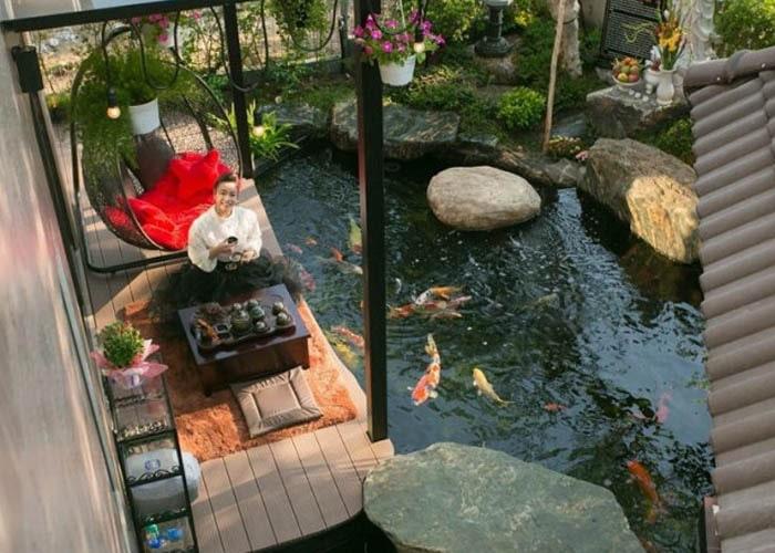 Hồ cá koi biệt thự ca sĩ - diễn viên Nhật Kim Anh H3