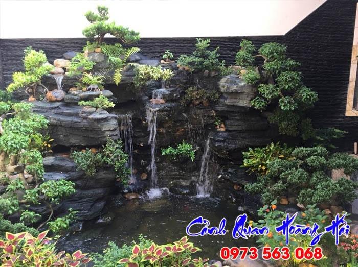 Thi công hòn non bộ tại Vĩnh Long - Kiểu sườn núi với thác nước